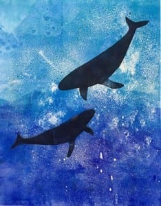 Whale silhouettes against a calm blue and purple water colored background