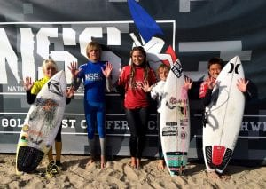 Group of young surfers with their boards