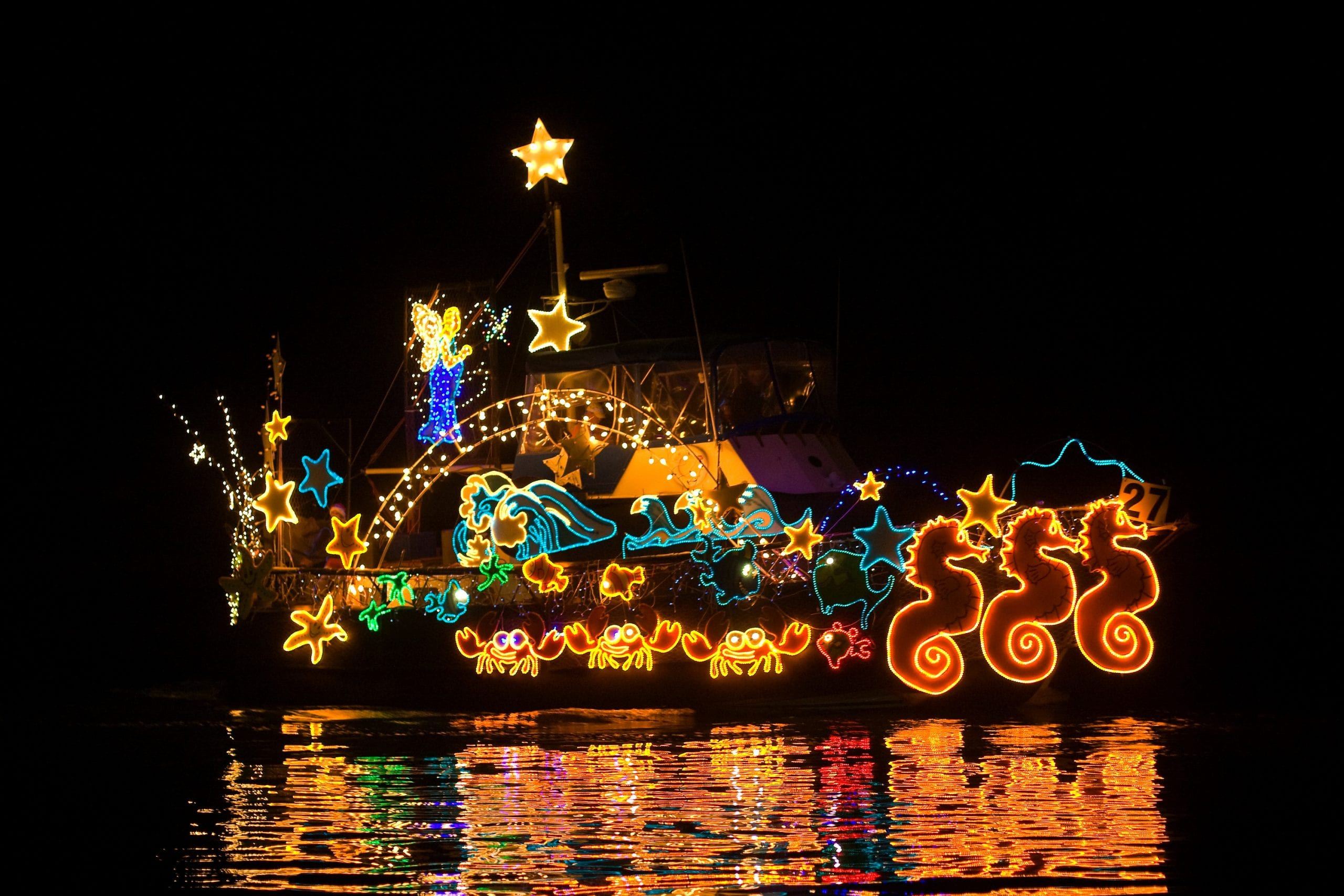 A boat participating in a holiday boat parade covered in lights in the shapes of different sea animals, while gliding along the water and reflecting its light of the water's surface in the dark night