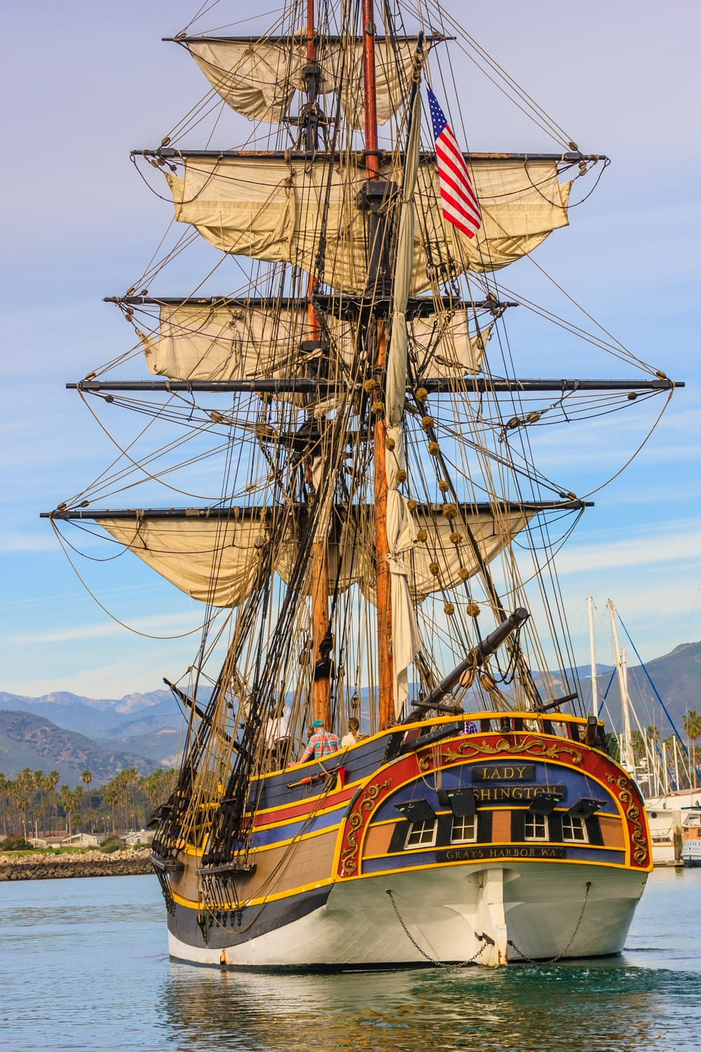 The majestic Lady Washington making the Ventura Harbor its temporary home