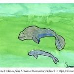 "Ventura kindergartener, Serenity Rayne Holmes, received an honorable mention for her watercolor of two whales titled ""Father."""