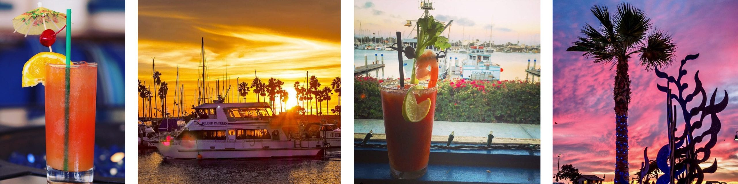 nothing better than looking at beautiful sunsets and sipping on marvelous drinks during Ventura Harbor Village's happy hours