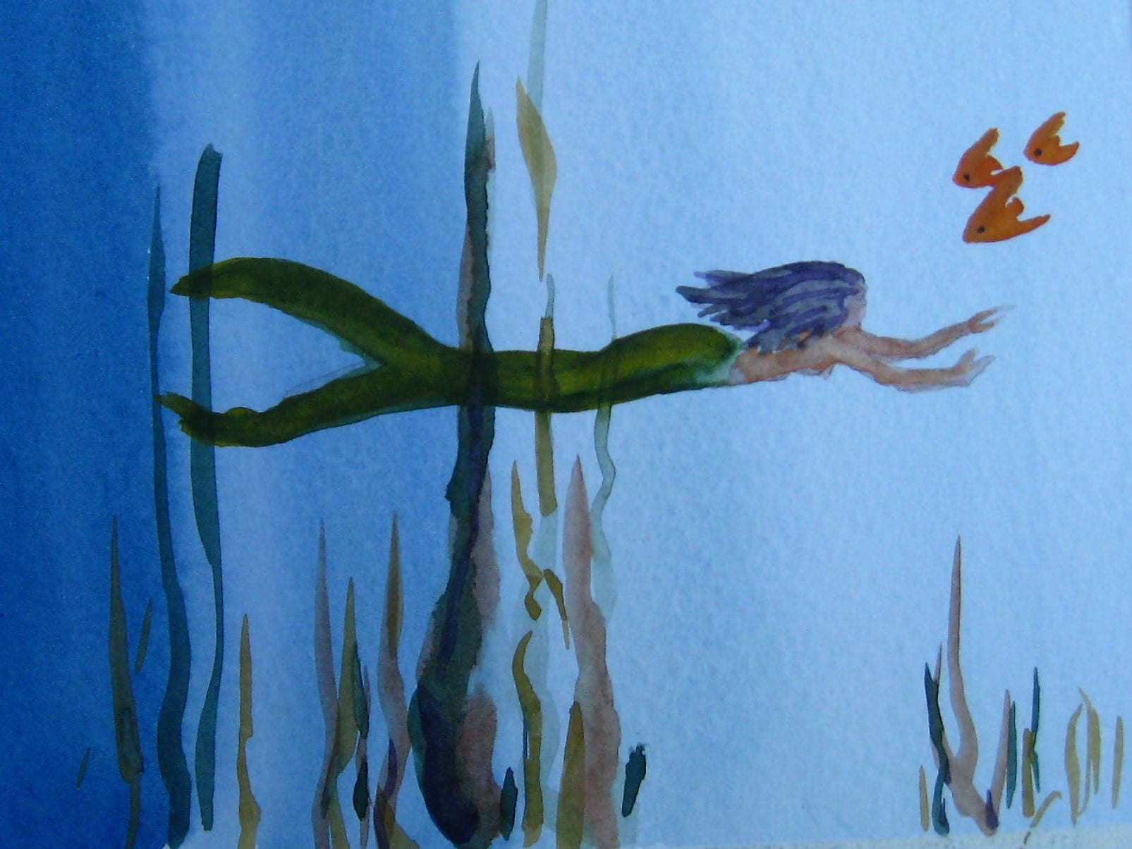 Mermaid and 3 fish