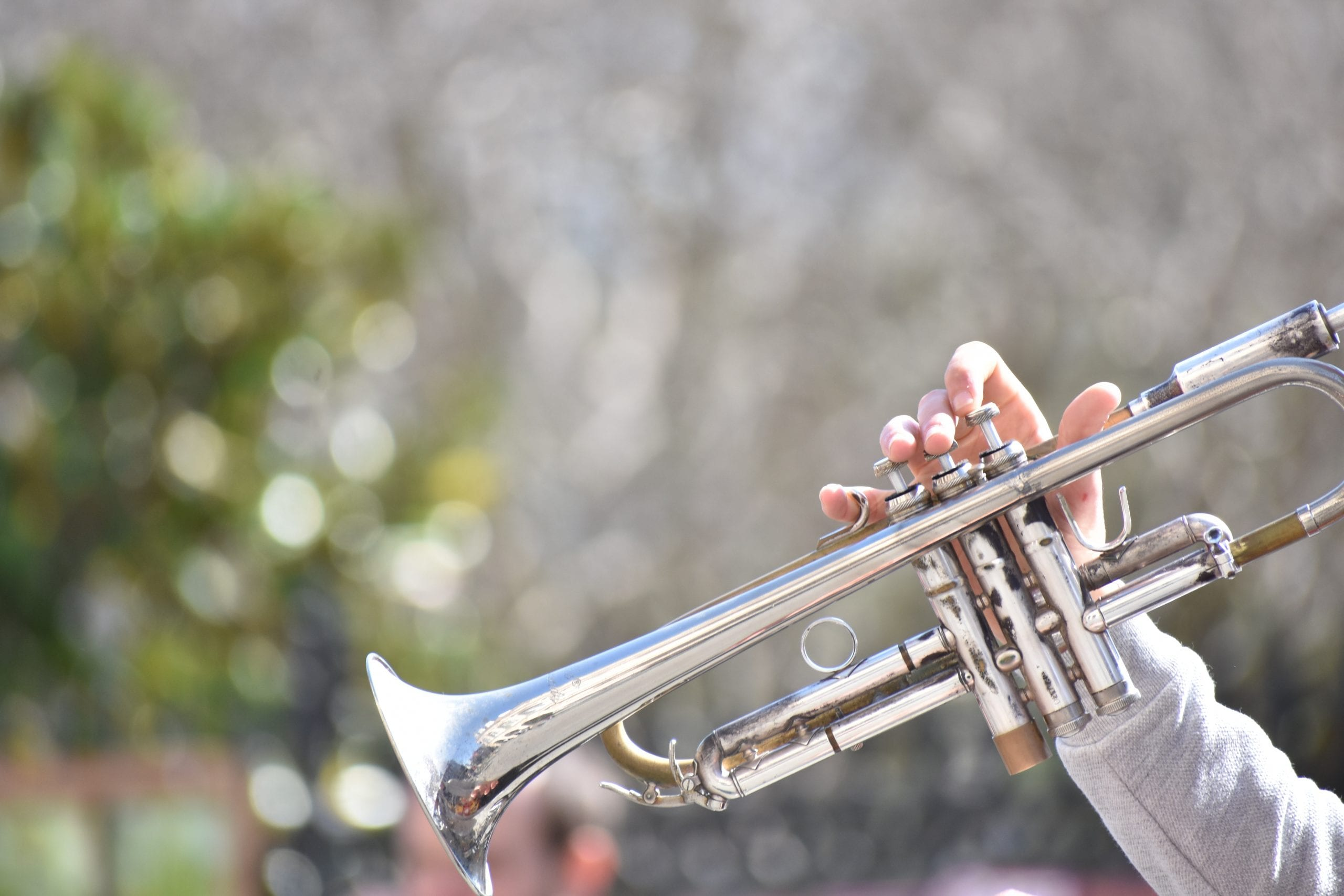 playing trumpet