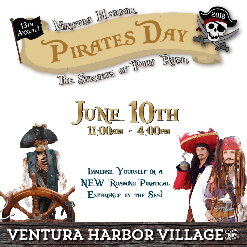 Pirates Day Banner with Date June 10th and Skeleton ship captain