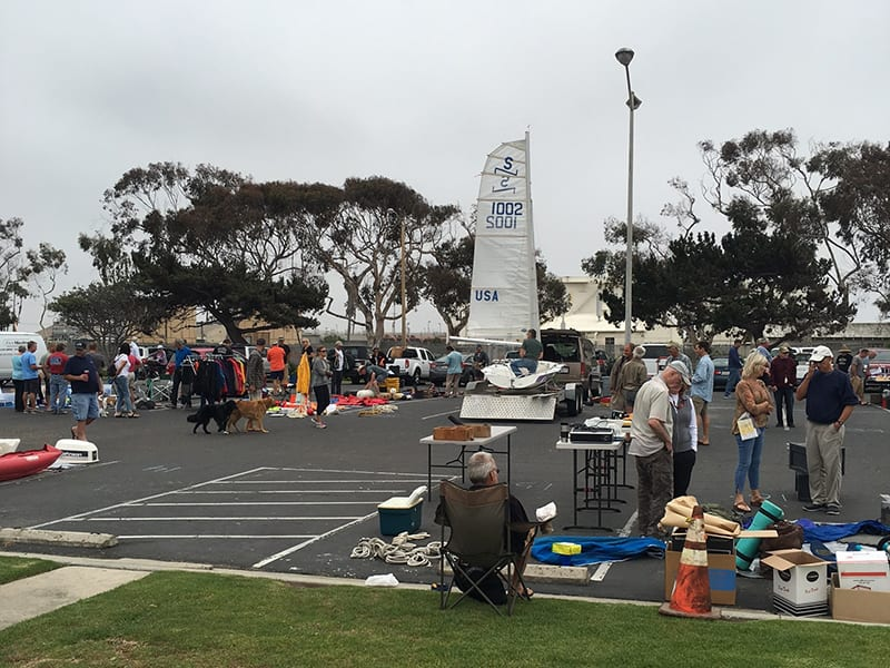 Swap Meet in parking lot with boating equipment