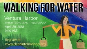 walking for water poster art of woman carrying buckets of water