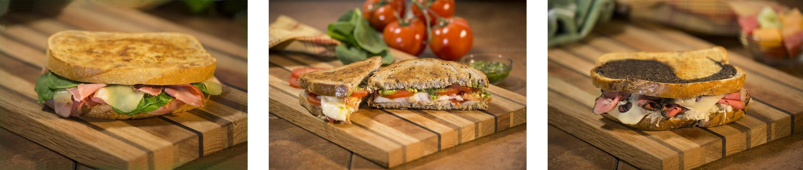three deliciously made grilled cheese sandwiches grilled to perfection!