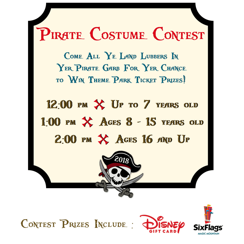 Costume contest at 12pm for ages 0-7, 1pm for ages 8-15, and 2pm for ages 16 & up