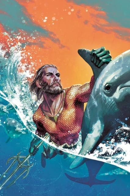 aquaman riding a wave with a dolphin