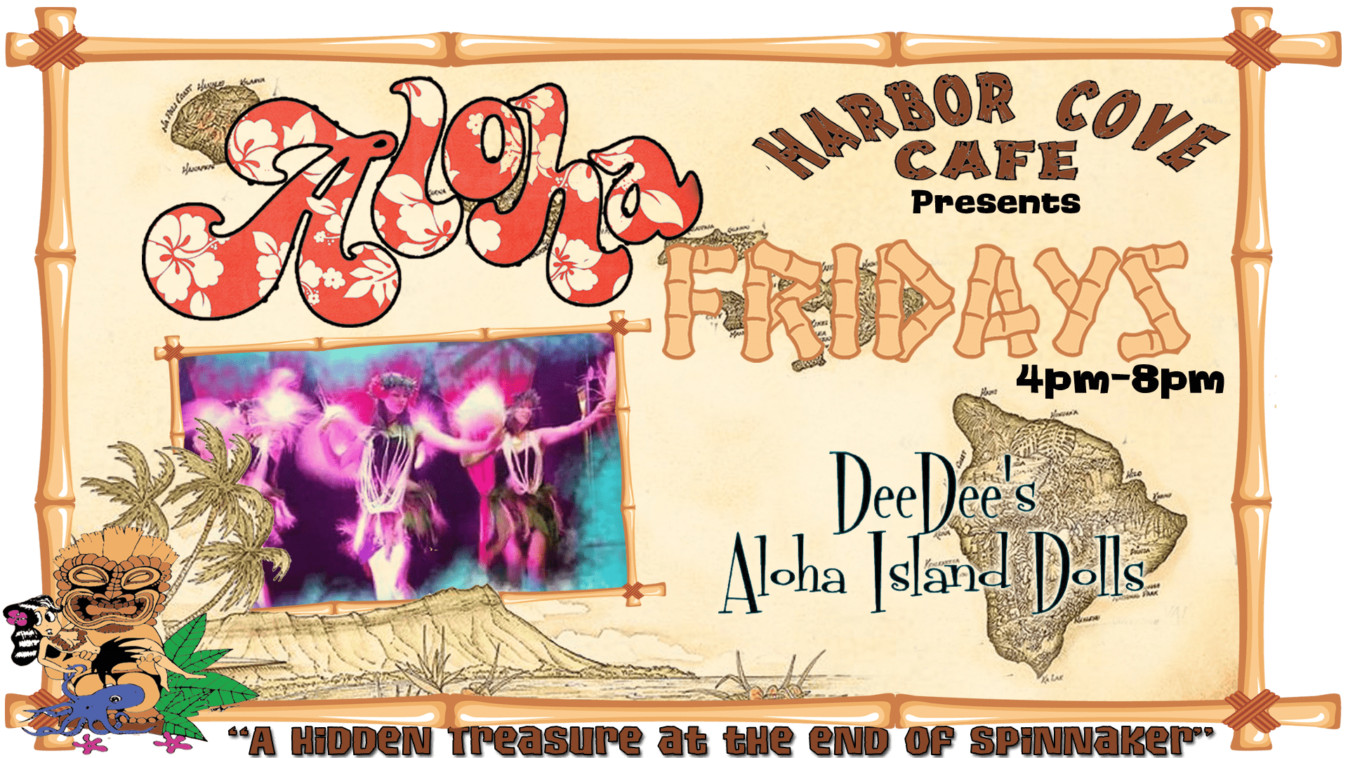 aloha Fridays at harbor cove cafe with dee dees aloha island dolls