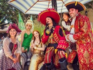 everyone including Captain Hook and Tinkerbell enjoying Ventura Harbor Village on Pirates Day