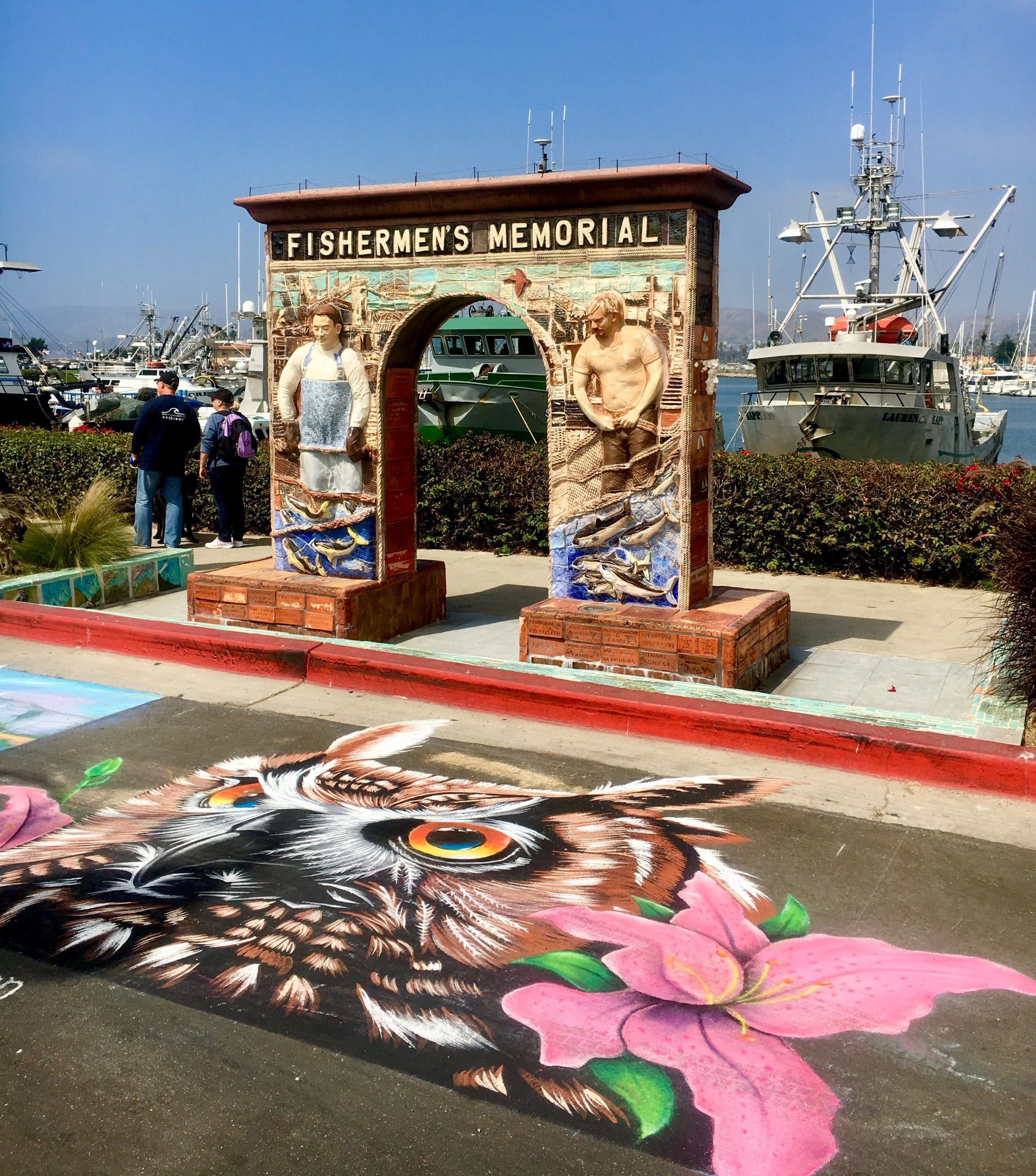come sea the chalk art against the beautiful harbor!