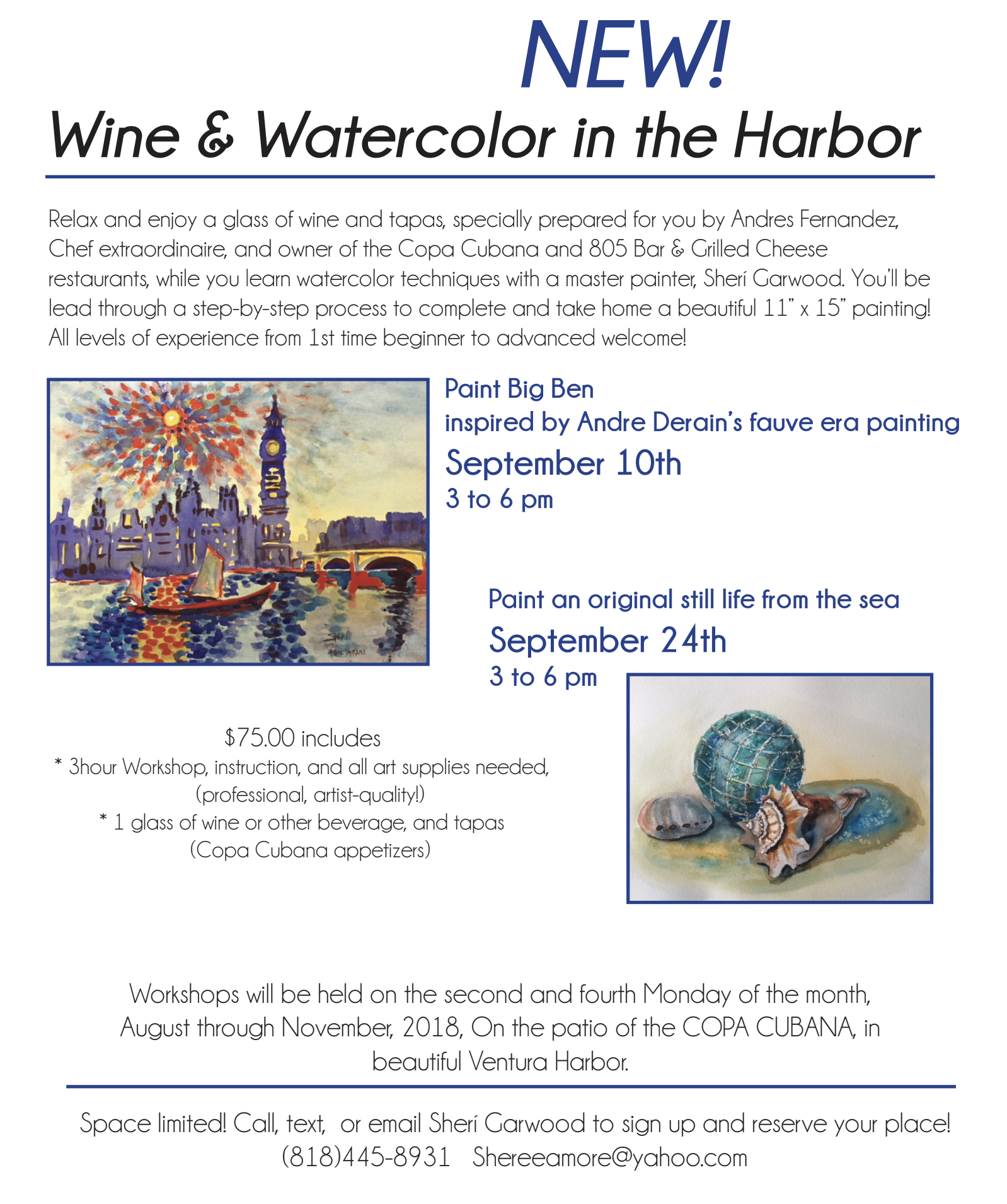 wine and watercolor in the harbor