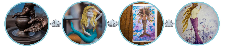 Various pieces of mermaid artwork