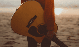 Guitar on beach