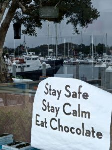 Dan Harding- stay safe stay calm eat chocolate sign