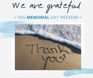 We are grateful this memorial day weekend