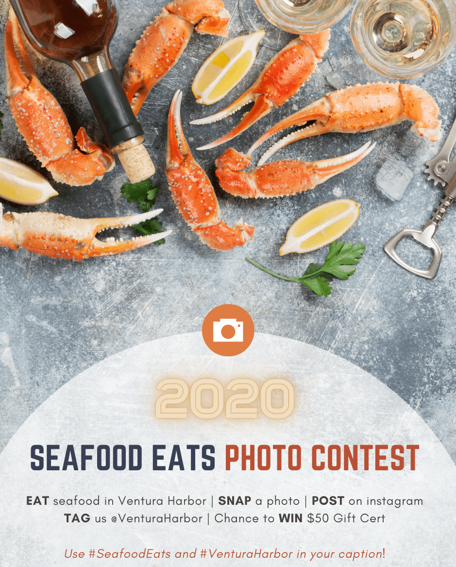 Crab legs, lemon wedges, and win glasses with text graphic for Seafood Eats Photo contest