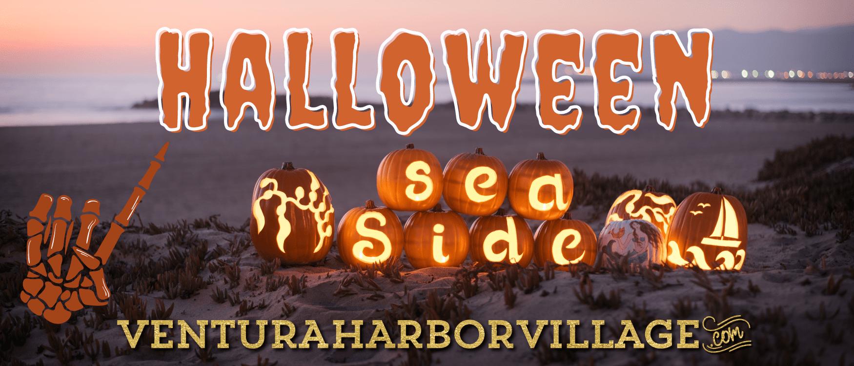 Carved pumpkins that say seaside