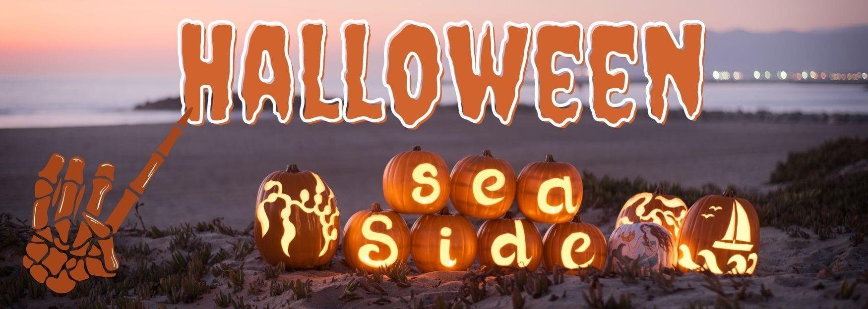 halloween seaside with ocean and pumpkins