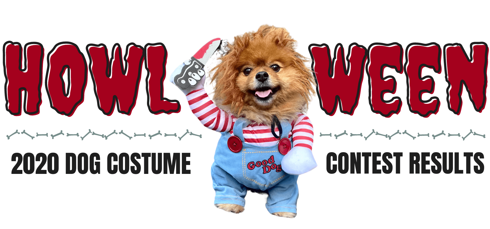 howl-o-ween sign with dog dressed as chuckie
