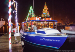 christmas decorated boat for boat rides