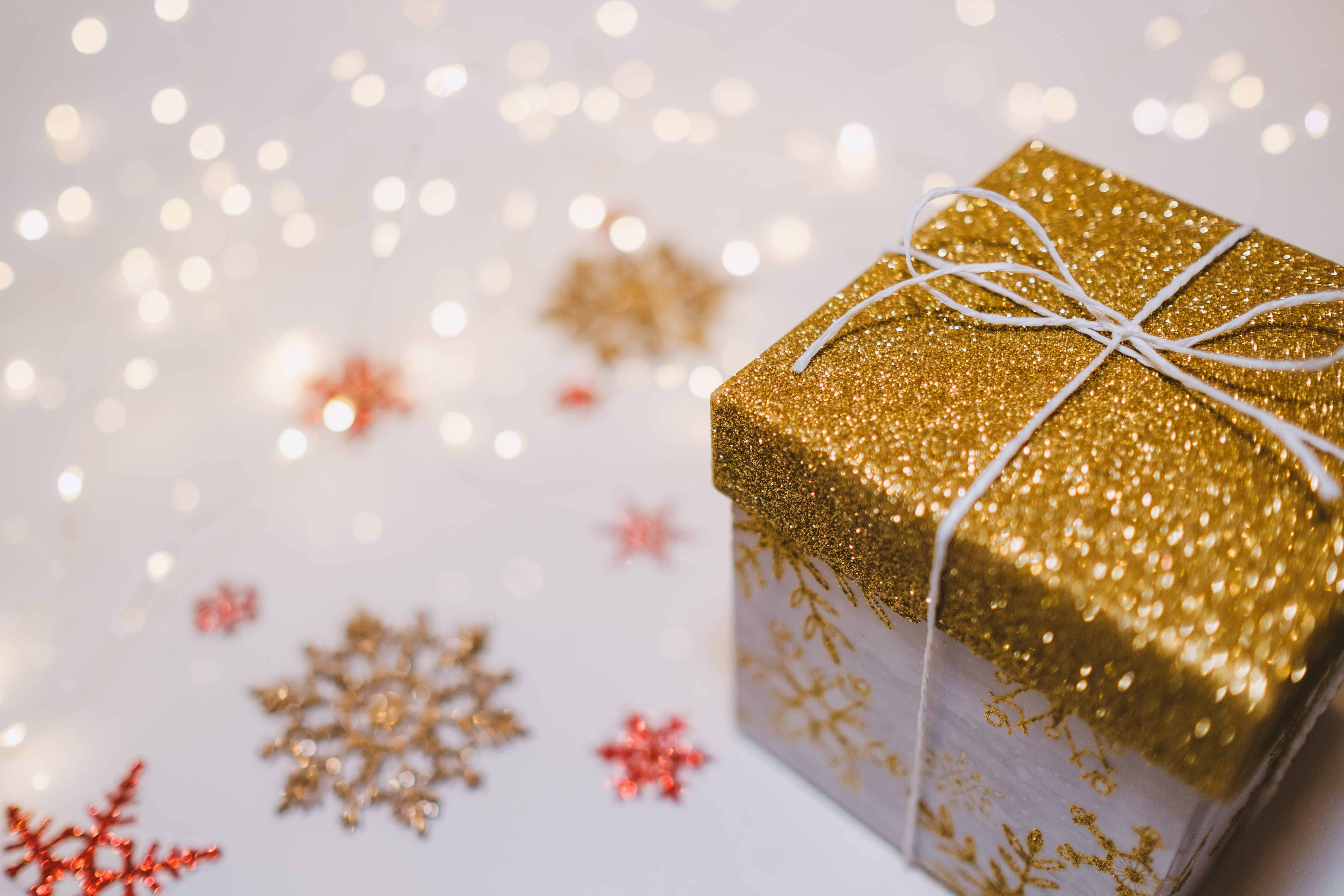 gift wrapped in gold wrapping paper