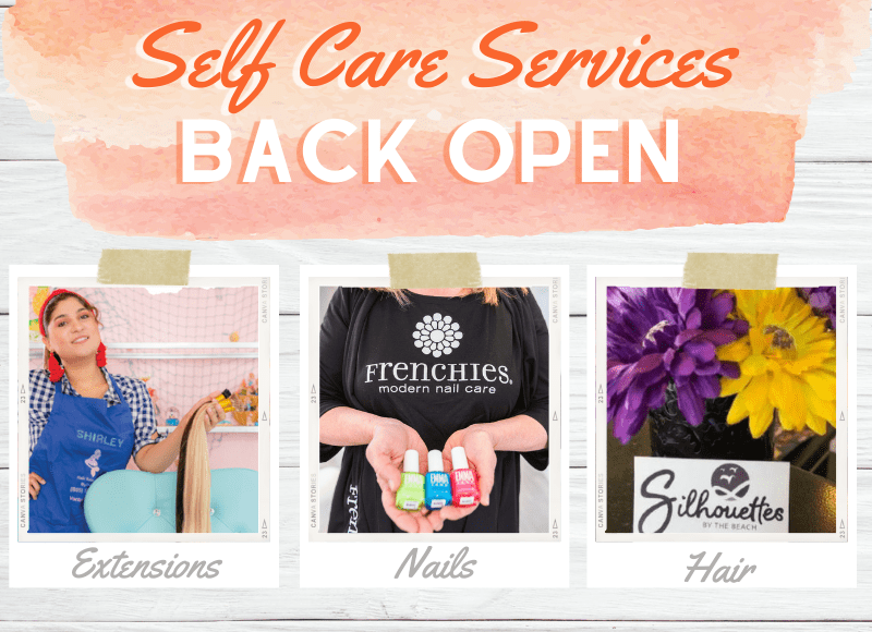 Collage of photos showing self care services like nails and hair