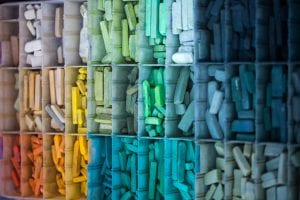 a rainbow of chalk colors