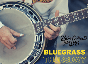 Blue Grass Thursday text overlay on person playing banjo