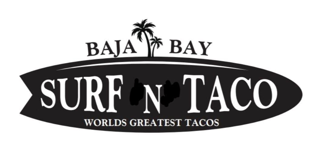 new baja bay logo black and white graphic shaped like surf board