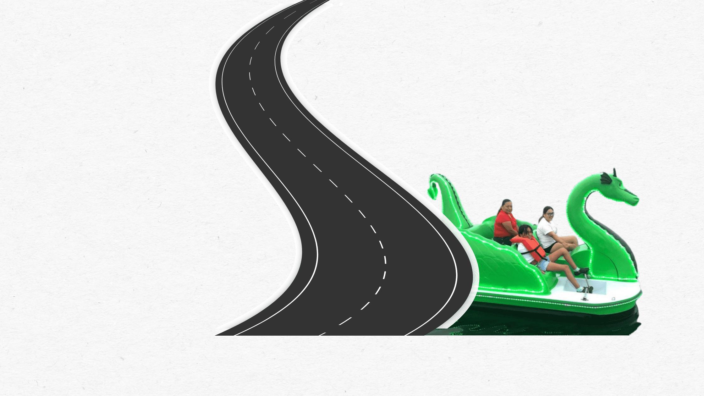 Green dragon pedal boat