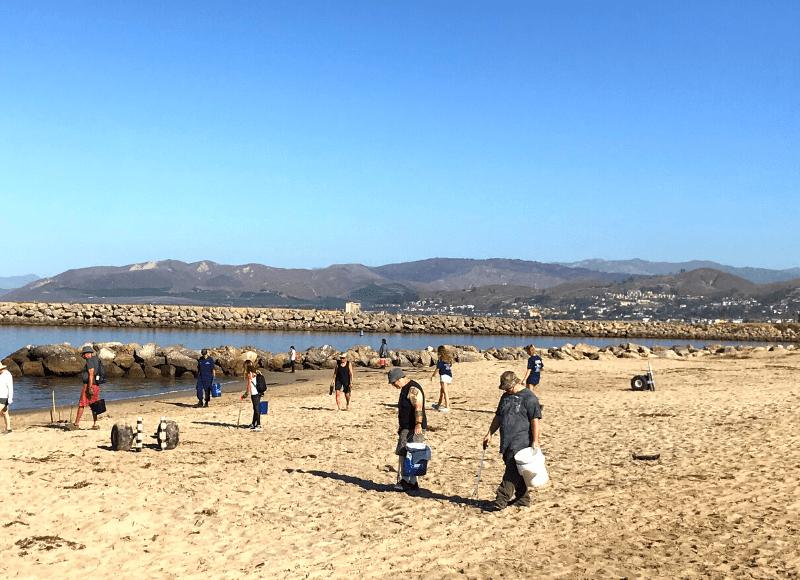People on harbor cove beach picking up debris