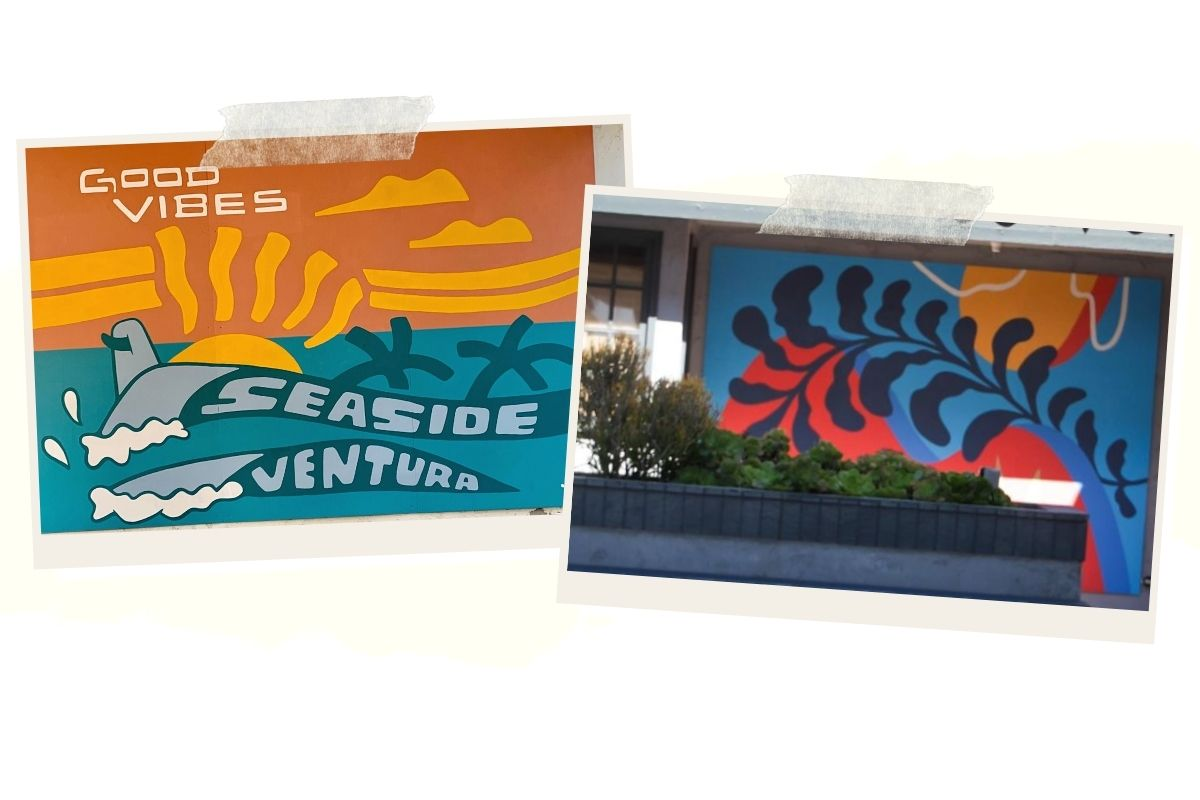 two murals of ocean inspired elements like palm trees waves and sun beams