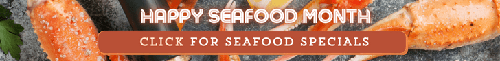 crab legs with call to action for seafood specials